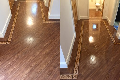 Before and after Satin dressed Karndean floor in Cardiff