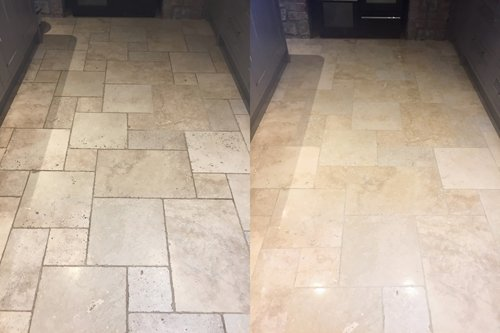 Polished kitchen Travertine floor in Swansea
