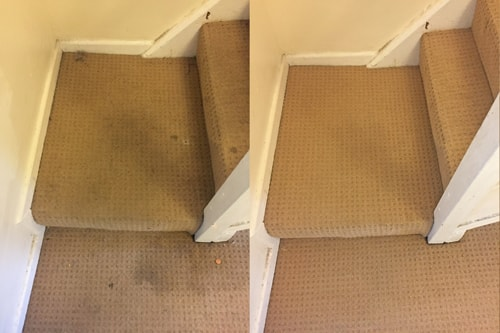 Stairs in Pontypridd before and after carpet cleaning