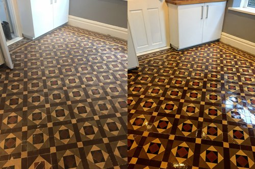 Waxed dresses Victorian tiled floor