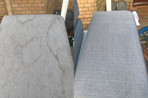 Before and after settee cleaning in Swansea