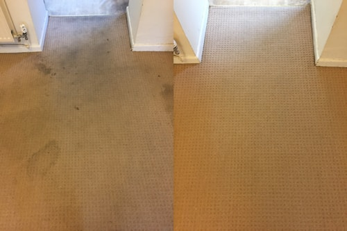 Before and after results of a carpet clean in Pontyclun