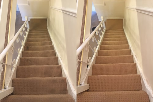 Before and after results of a stairs carpet clean in Penarth