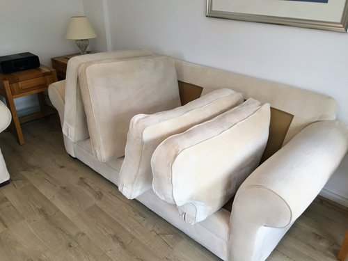 Two seater cream settee cleaning Cardiff