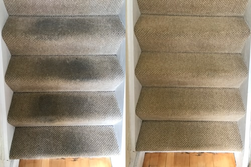 Stairs before and after carpet cleaning Penarth
