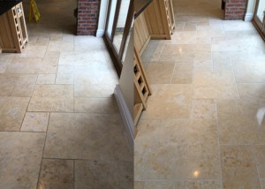 Limestone tile floor clean polish