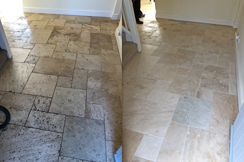Tumbled Travertine kitchen floor clean before after