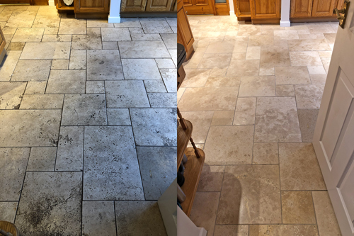 Tumbled waxed Travertine floor cleaning