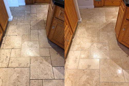 Before and after Travertine floor clean