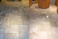 Wax removal before and after Travertine floor