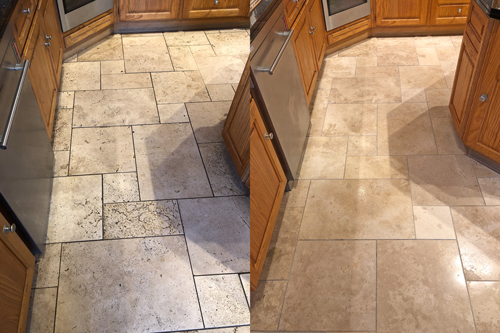 Travertine floor clean before and after