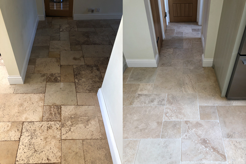 Tiled Travertine floor before after