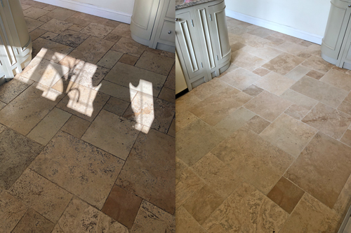 Travertine floor cleaners before after