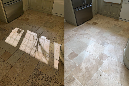 Kitchen Travertine tiled floor before after