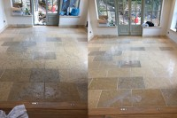 Before and after limestone floor cleaning Chippenham