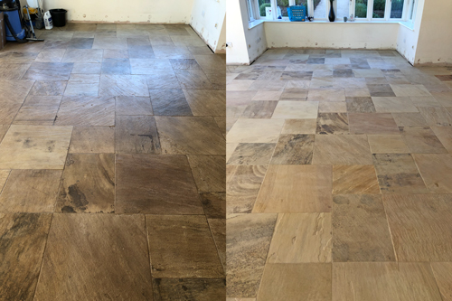 Topical seal removal Sandstone floor