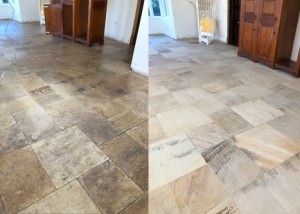 Sandstone floor restoration before and after
