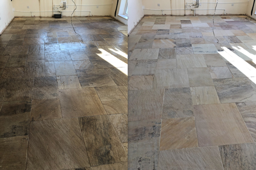 Sandstone floor before and after cleaning