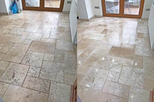 Travertine floor polished