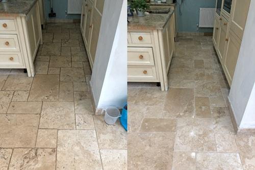 polished Travertine kitchen floor